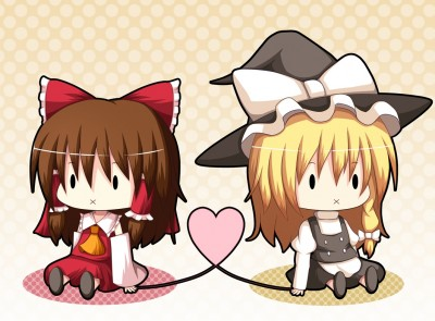 Konachan.com - 71589 blonde_hair brown_hair chibi dress hakurei_reimu hat japanese_clothes kirisame_marisa kurenai_shake miko short_hair touhou witch.jpg